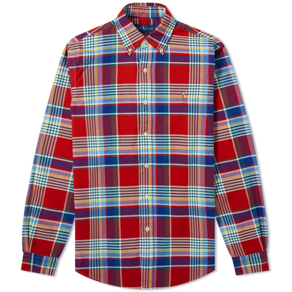 e4a209f86 Polo Ralph Lauren Button Down Slim Fit Checked Oxford Shirt Red Multi