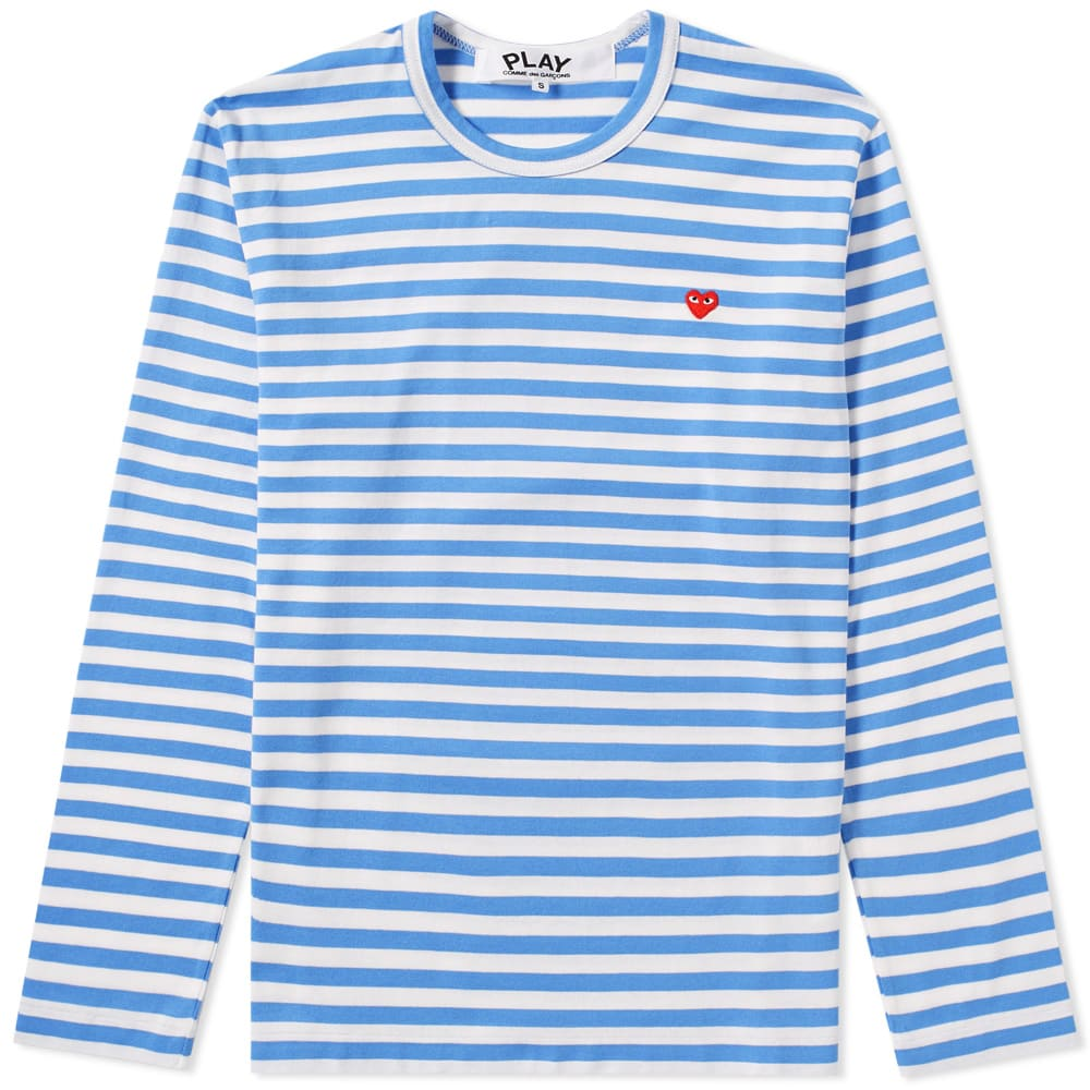 40a45e6f9f2b Comme des Garcons Play Little Red Heart Long Sleeve Stripe Tee Blue | END.