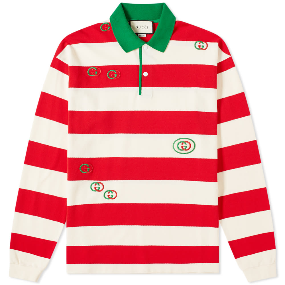 67635d33b Gucci Long Sleeve Striped Logo Tee Red   END.