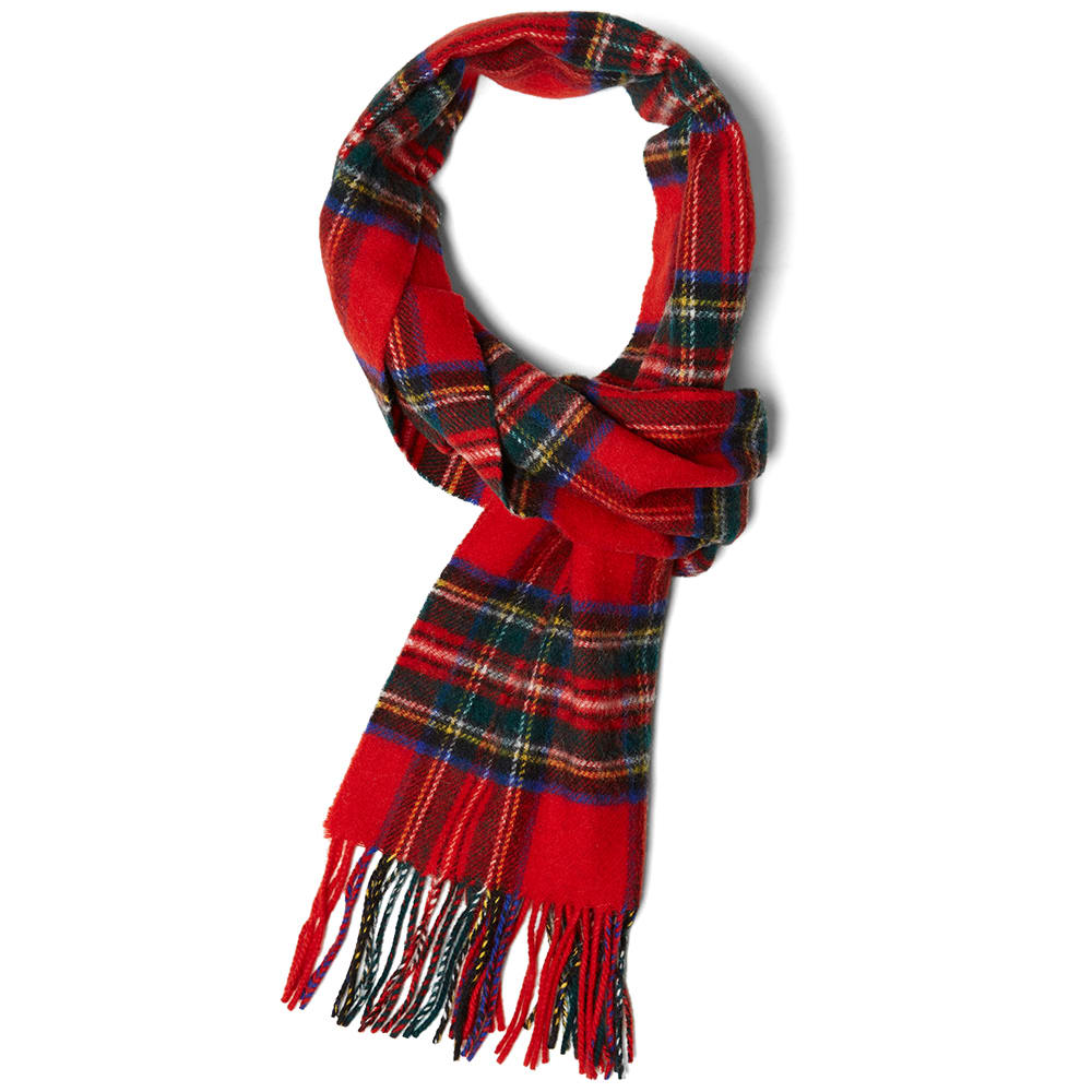 gloverall lambswool tartan scarf royal stewart