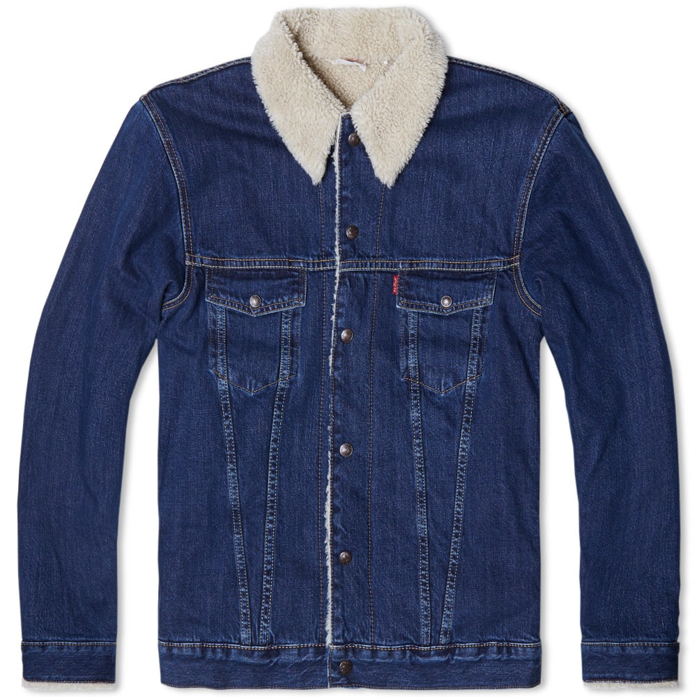 Levi 39 s vintage clothing 1967 type iii sherpa lined trucker for Types of denim shirts