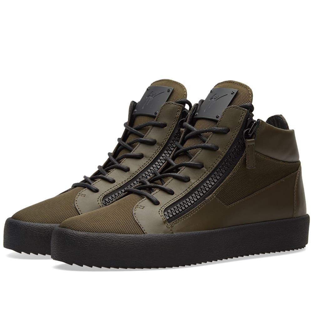 75c820765d44f Giuseppe Zanotti Ballistic Double Zip Mid Sneaker Military Green | END.