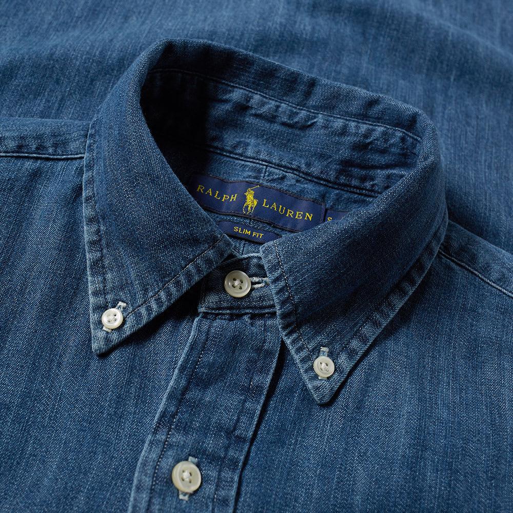 8754a652e Polo Ralph Lauren Slim Fit Button Down Chambray Shirt Dark Wash