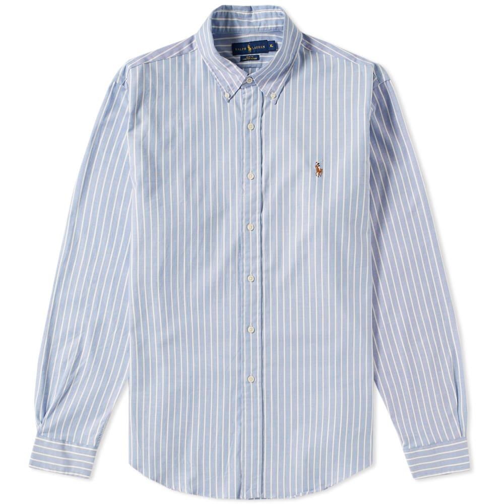 e47b4c3142 Polo Ralph Lauren Slim Fit Button Down Stripe Oxford Shirt White   Blue