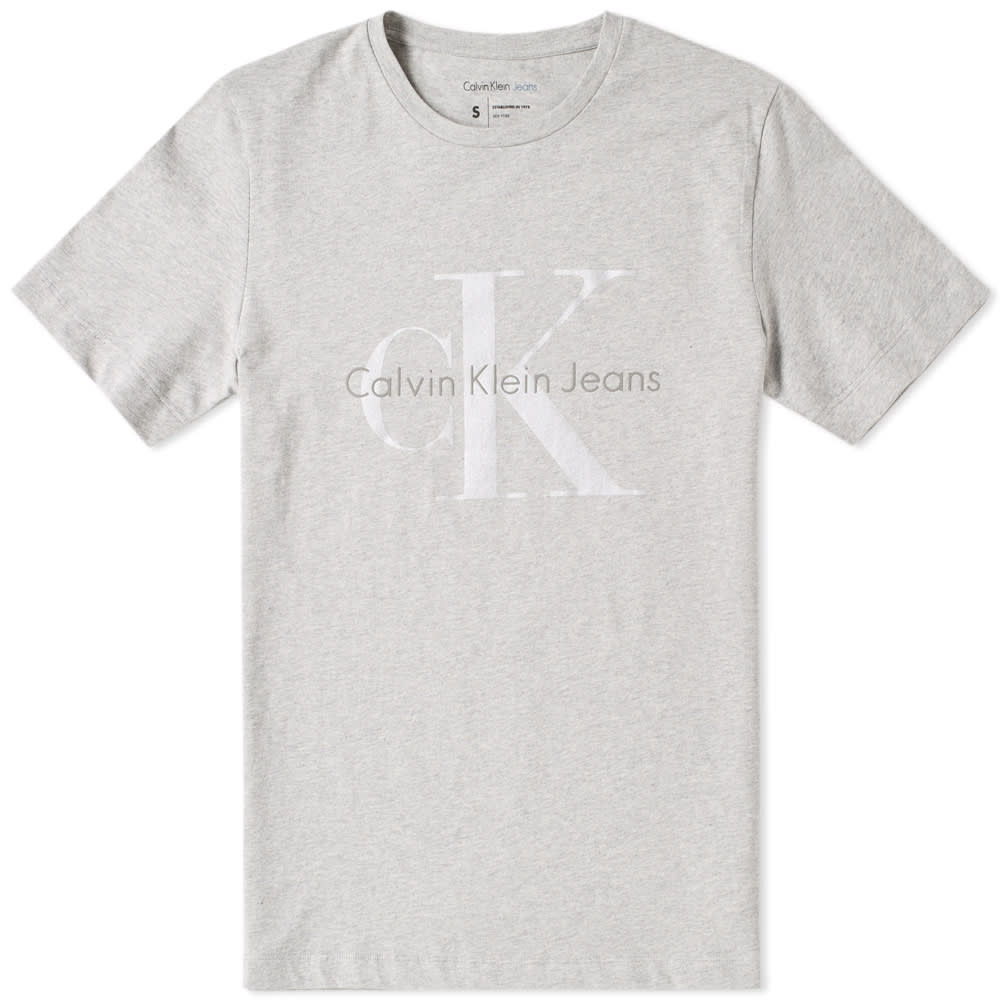 f75c2089c29c Calvin Klein Tetal Reflective Logo Tee Light Grey Heather