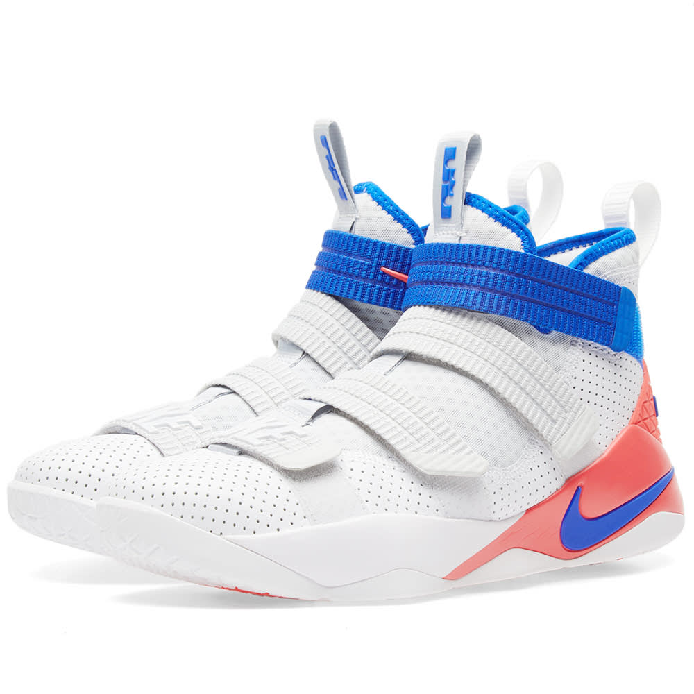 new product 9ac01 5aa38 Nike LeBron Soldier XI SFG White, Racer Blue   Infrared   END.