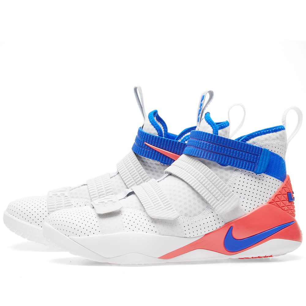 new product 8463b 84af5 Nike LeBron Soldier XI SFG White, Racer Blue   Infrared   END.