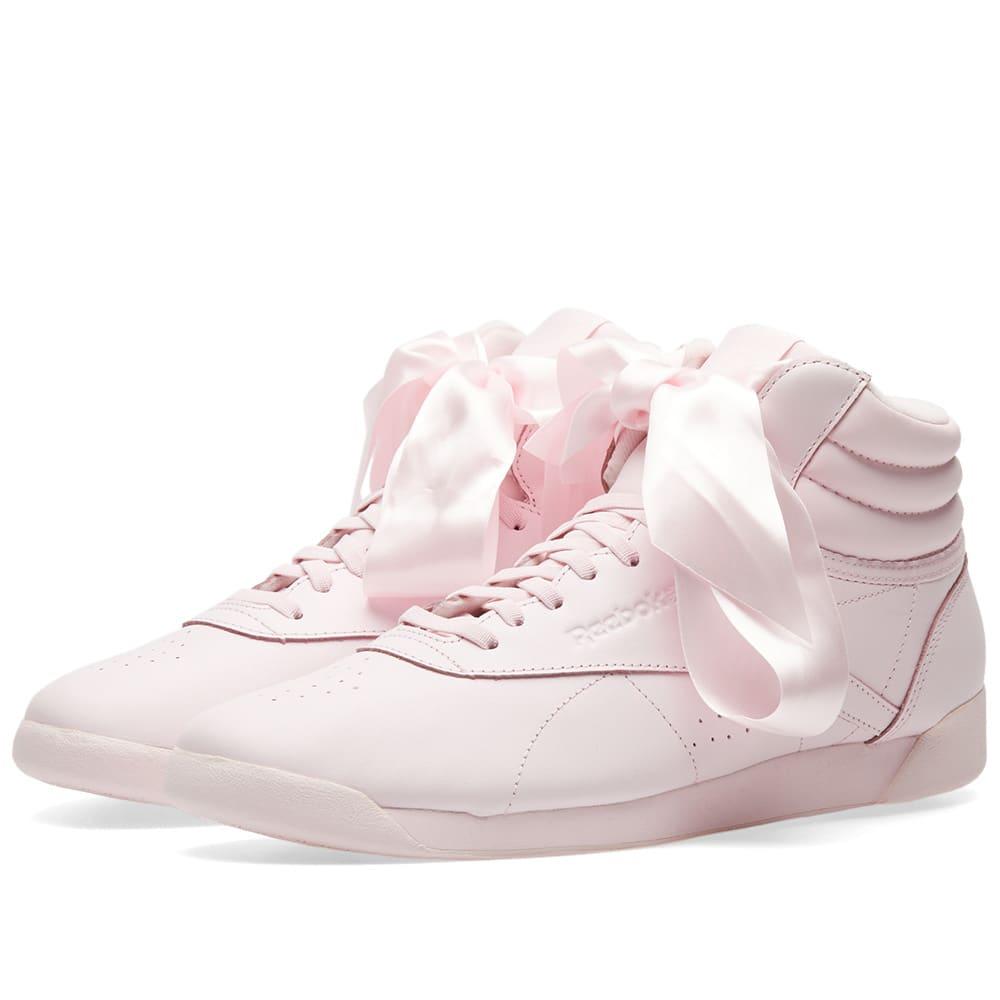 24d2d51e78ff5 Reebok Freestyle Hi Satin Bow W Porcelain Pink   Skull Grey