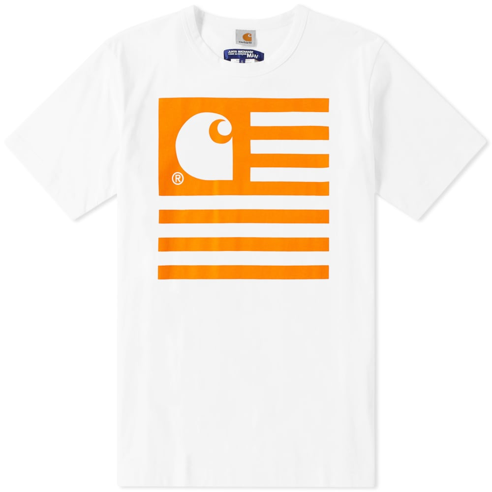 JUNYA WATANABE White & Orange Carhartt Edition Logo T-Shirt