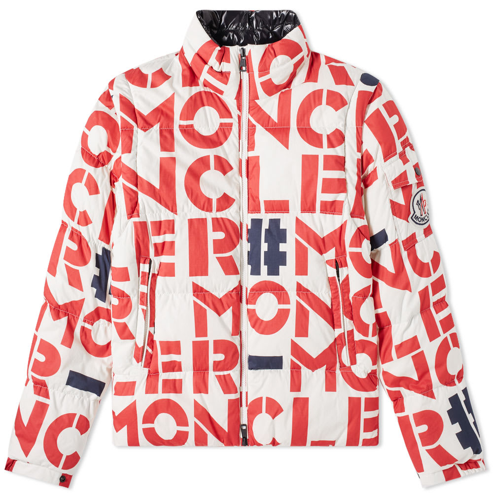 MONCLER GENIUS Moncler Genius - 2 Moncler 1952 - Jehan All Over Text Logo Removable Sleeve Down Jacket