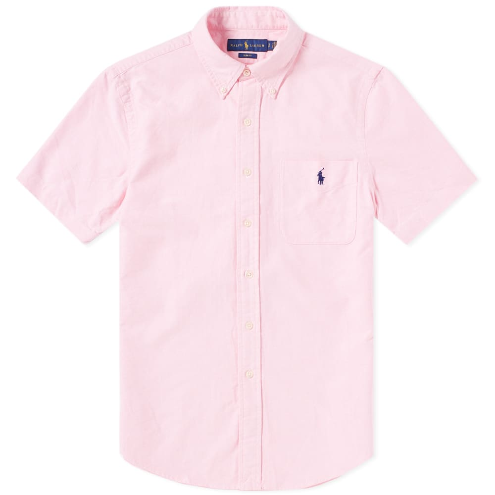 994bd9073a42 Polo Ralph Lauren Short Sleeve Slim Fit Oxford Shirt Pink