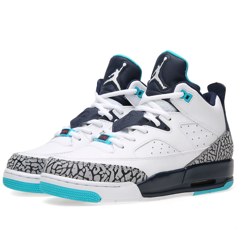 7e2b7c61f858c6 Nike Air Jordan Son of Mars Low BG  Hornets  White   Midnight Navy ...