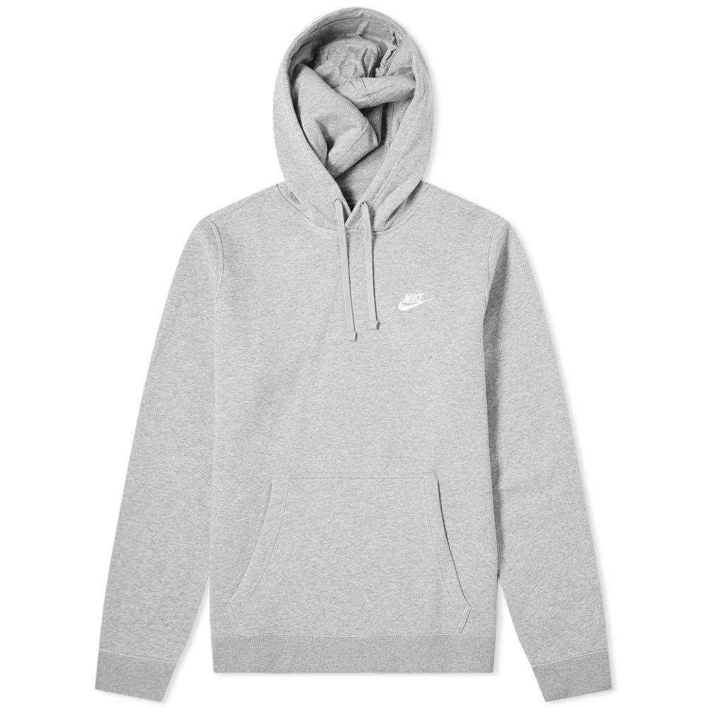 57af32d422 Nike Club Pullover Hoody Dark Grey Heather, White | END.