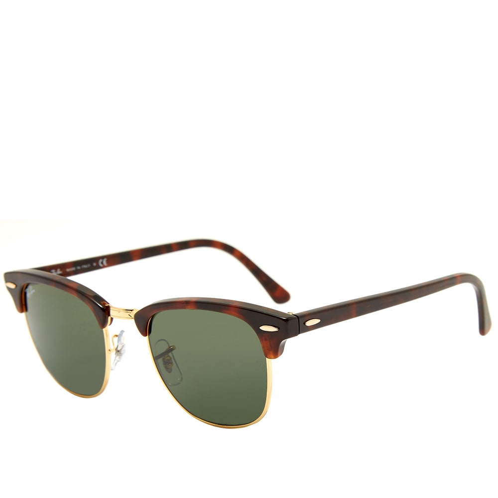 6f7a44729e73 Ray Ban Clubmaster Sunglasses Mock Tortoise & Green | END.