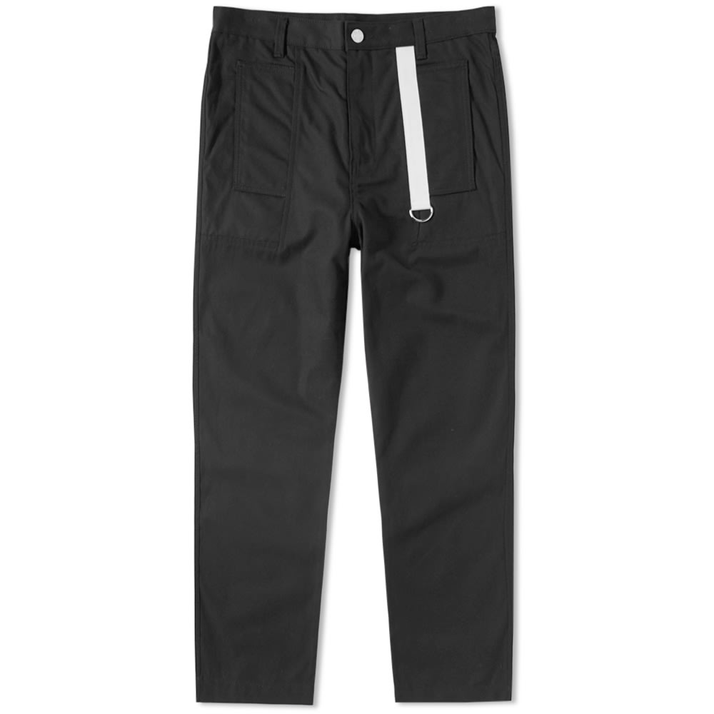 Black Cropped Piqué Cotton Trousers