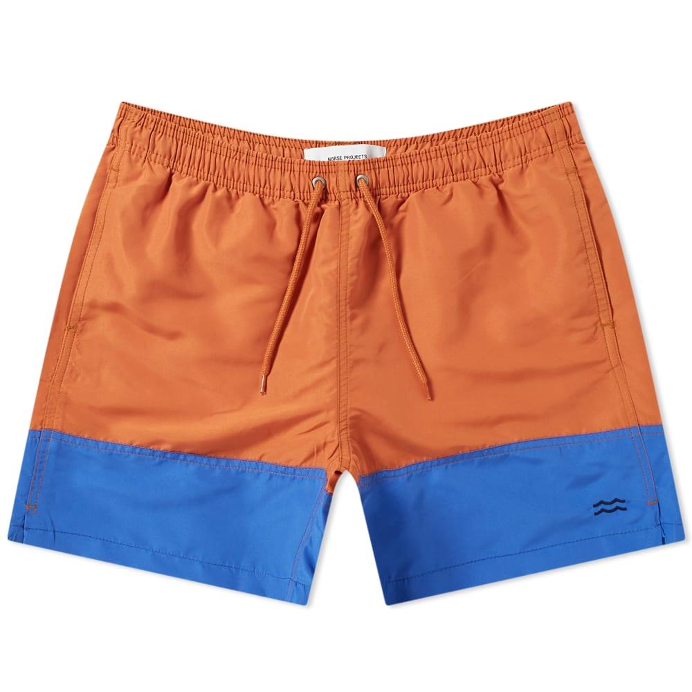 2b11c6d31e Norse Projects Hauge Colour Block Swim Short Pumpkin Orange | END.