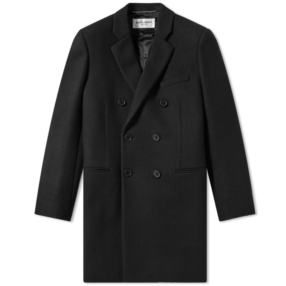 Saint Laurent Double Breasted Wool Coat