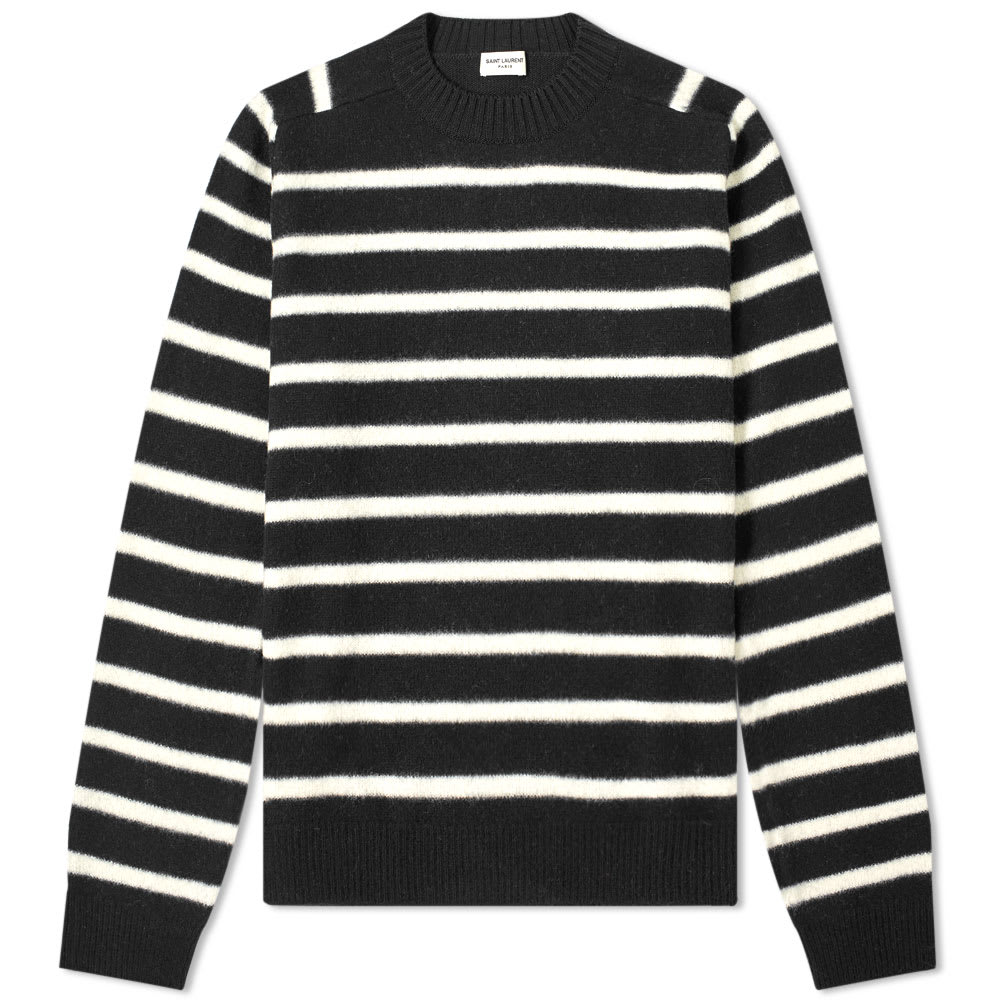 Saint Laurent Wool Felt Stripe Crew Knit