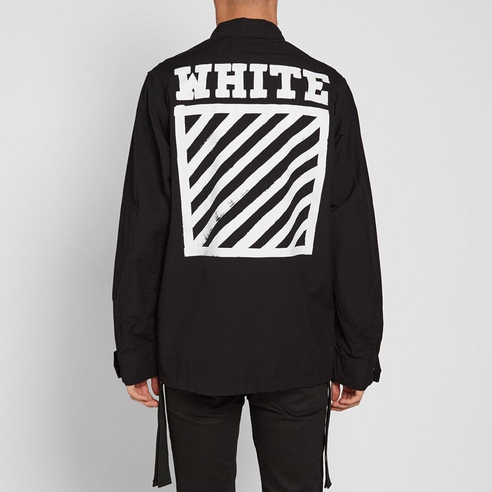 off white brushed diagonals sahariana jacket black. Black Bedroom Furniture Sets. Home Design Ideas