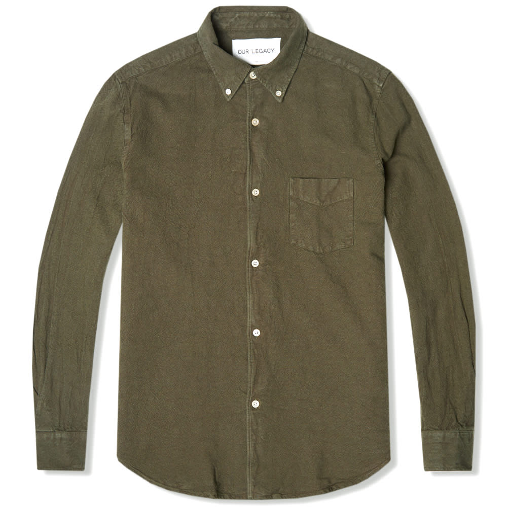 Our legacy 1950s button down shirt olive heavy american for Heavy button down shirts