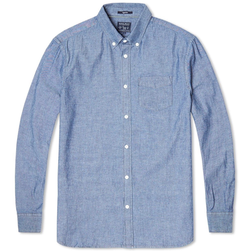 woolrich chambray button down shirt chambray