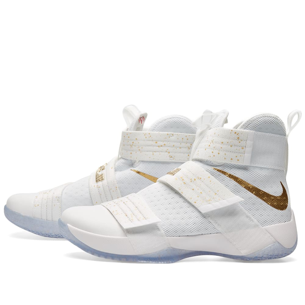new styles e7b87 265dc Nike Lebron Soldier 10 SFG Limited White   Metallic Gold   END.