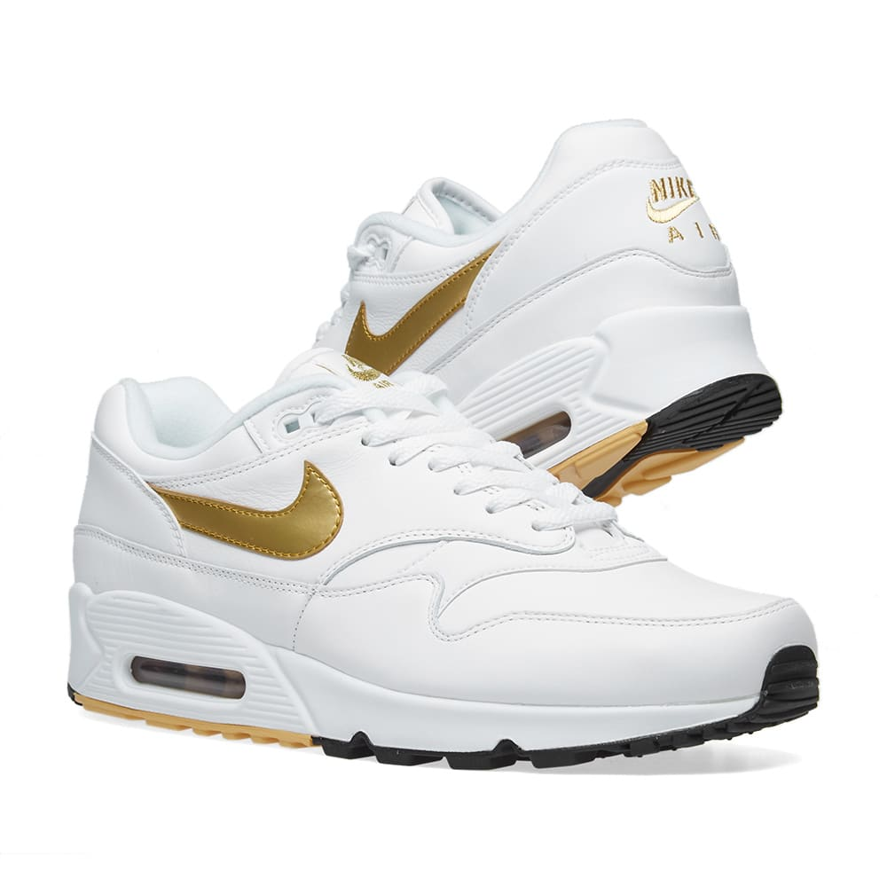 best service 012d8 a4fc4 Nike Air Max 90 1. White, Gold   Black