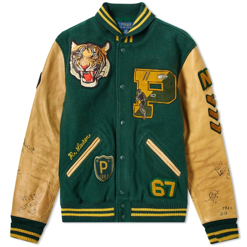 b2c673ca Polo Ralph Lauren Leather Sleeve Varsity Jacket