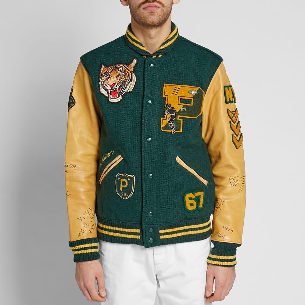 Varsity Jacket Polo Ralph Leather Lauren Sleeve QCBdxWoer