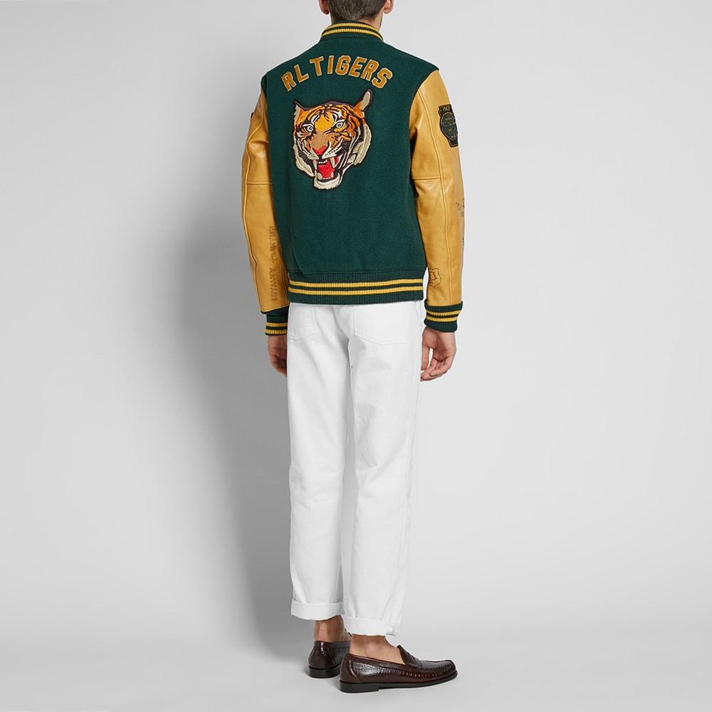 Varsity Leather Jacket Lauren Sleeve Ralph Polo m0Nwvn8O