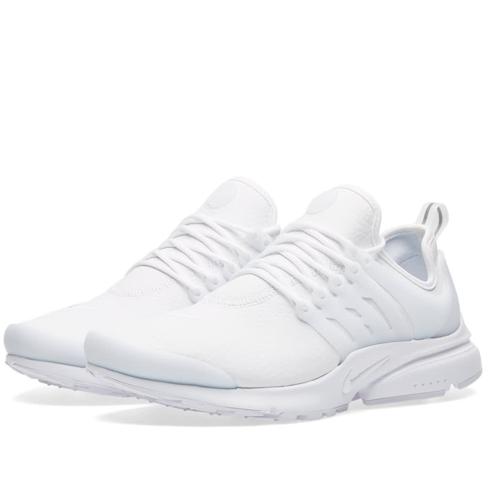 new concept ea165 f2340 Nike Air Presto Premium Leather Womens Trainers Triple White