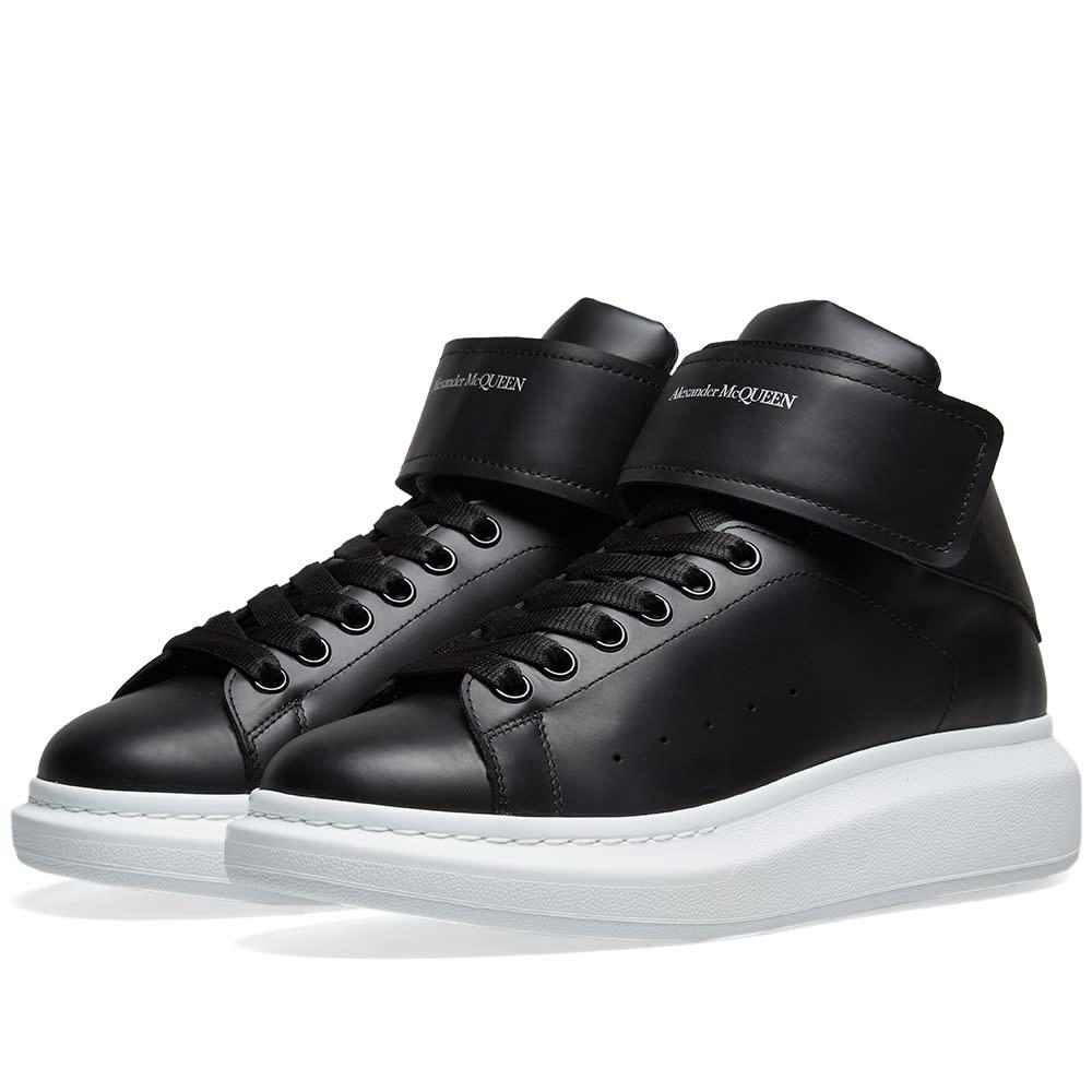 best authentic 2fbfc ca129 Alexander McQueen Hi Top Strap Wedge Sole Sneaker Black   END.