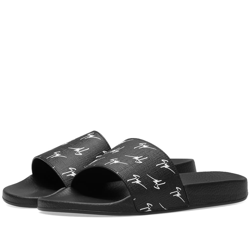 Giuseppe Zanotti Calfskin leather sandal with white logo motif BRETT SIGNATURE