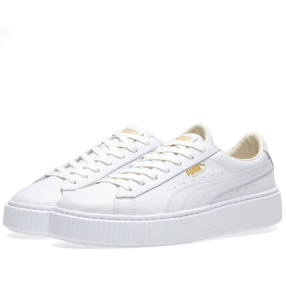 4c9267490090 Puma Women s Basket Platform Core Puma White   Gold