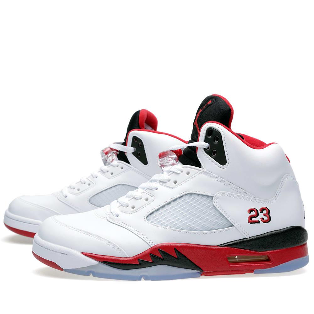 Nike air jordan v retro fire red g s white amp fire red