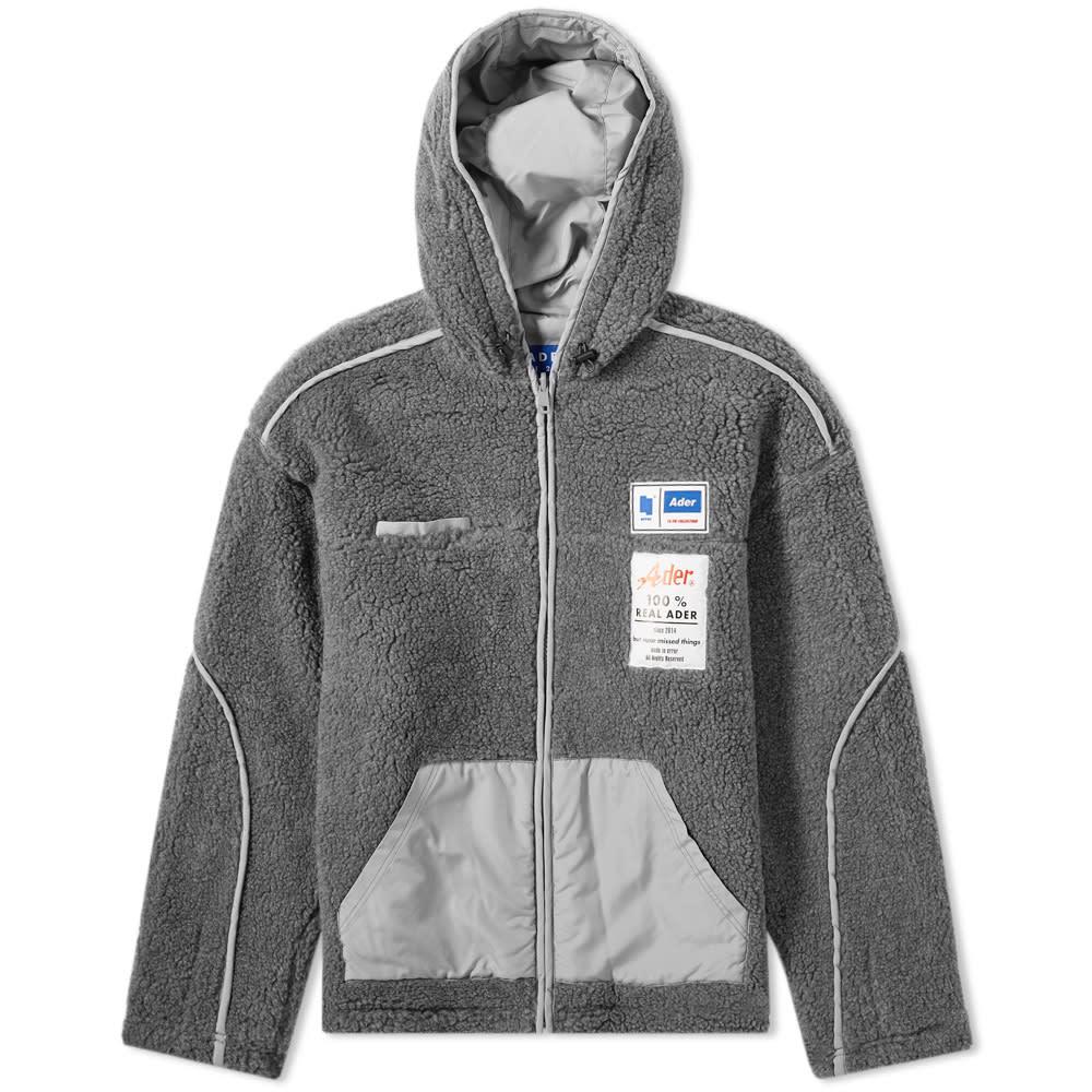 Ader Error Oversized Fur-Effect Hooded Jacket - Grey