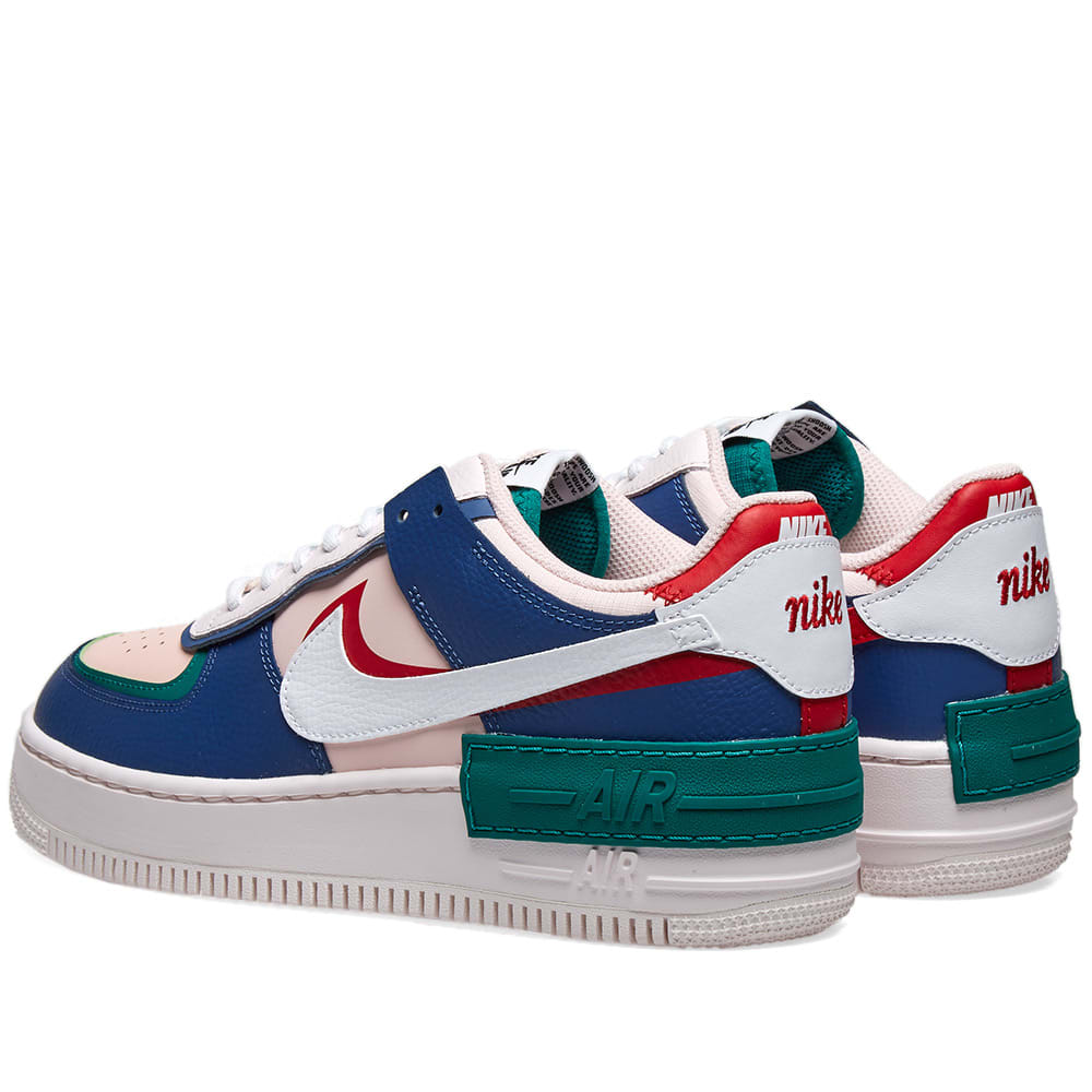 Nike Air Force 1 Shadow W Navy White Echo Pink End Detailing on mystic navy/white features hits of pink, white and red throughout. nike air force 1 shadow w