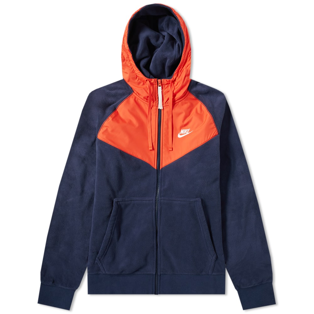 detailed look 66b8a 7a8b3 Nike Fleece Winter Wind Runner Obsidian   Habanero Red   END.
