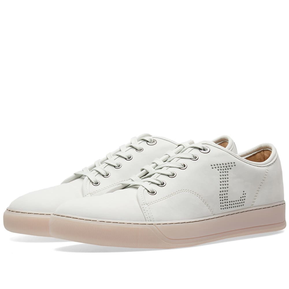 LANVIN Leather Perforated Logo Sneakers, Grey