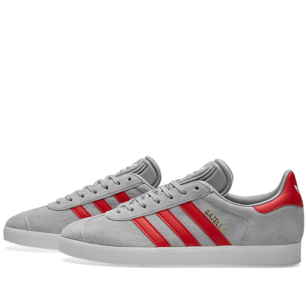 Adidas Gazelle Solid Grey \u0026 Scarlet | END.