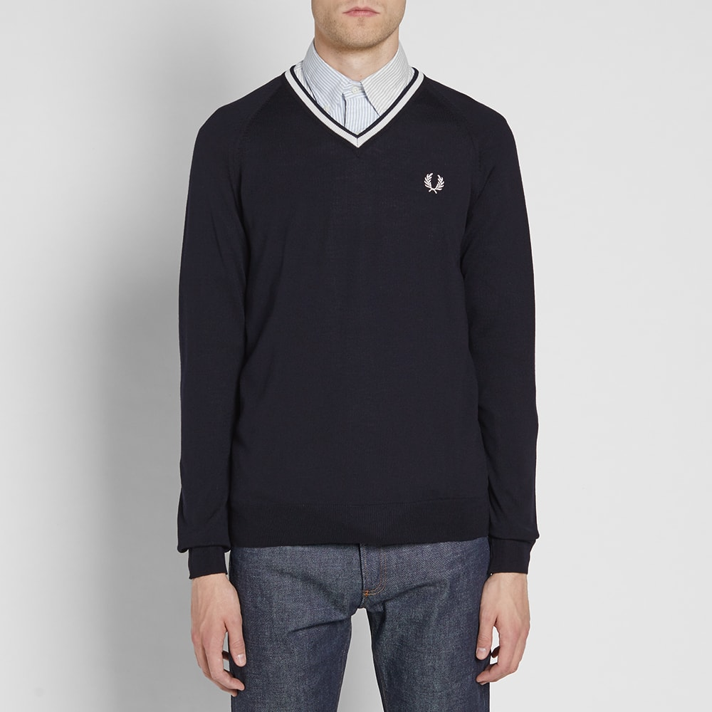 Fred Perry Mens Merino Tipped V-Neck Sweater