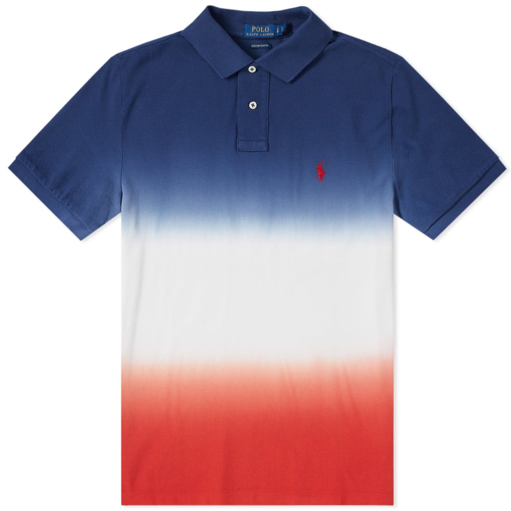329d933d38 Polo Ralph Lauren Dip-Dyed Pique Polo, Dark Cobalt/White/Red Beret