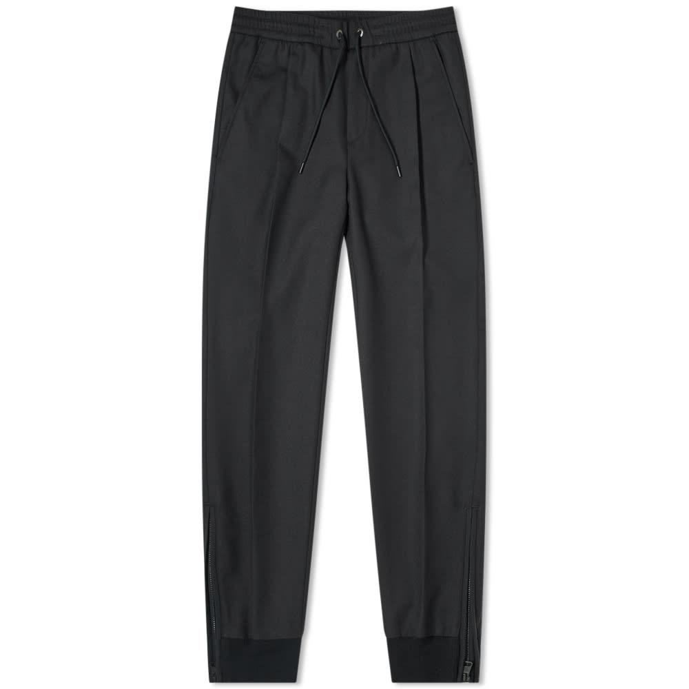 Moncler Wool Zip Drawstring Pant In Black