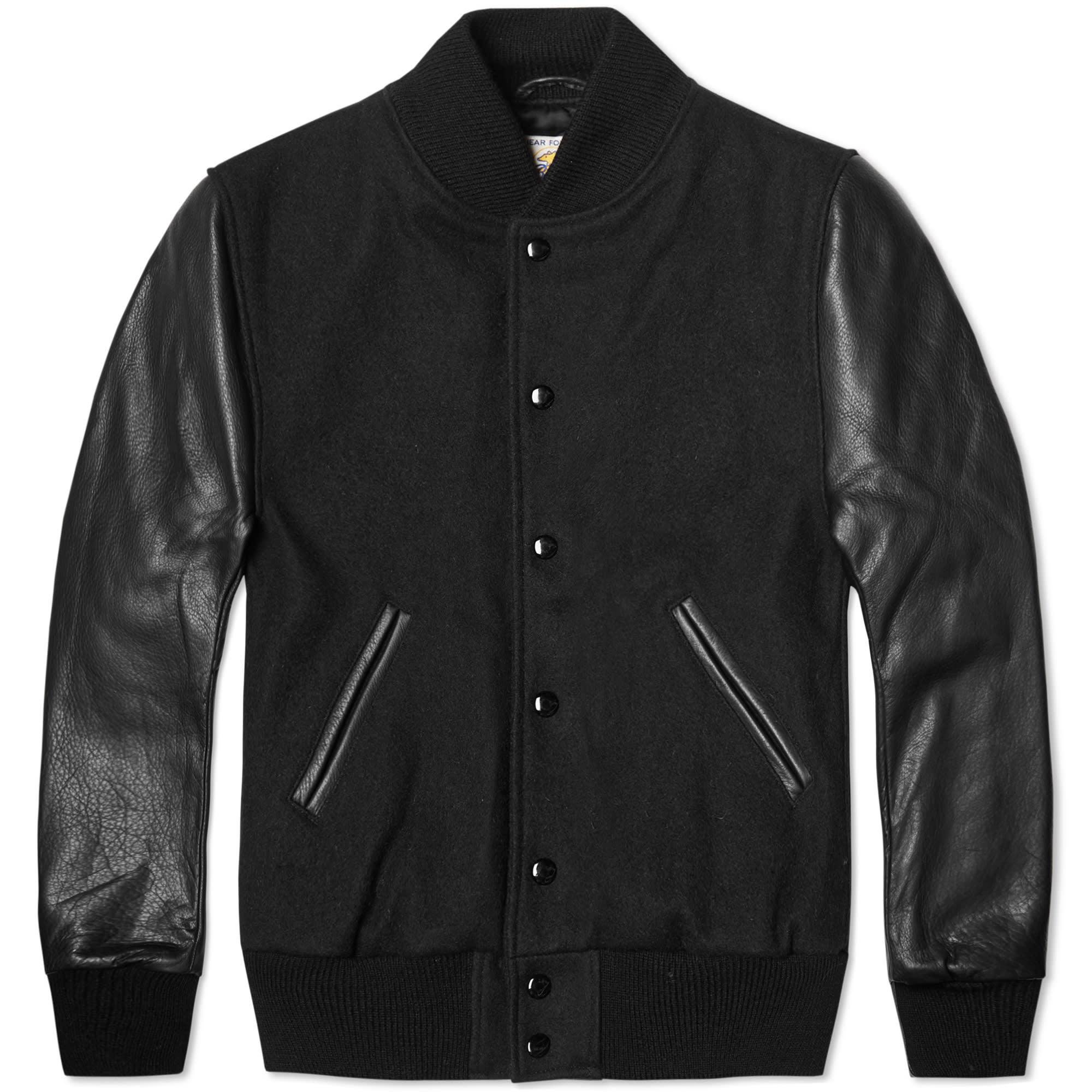 Leather wool varsity jacket
