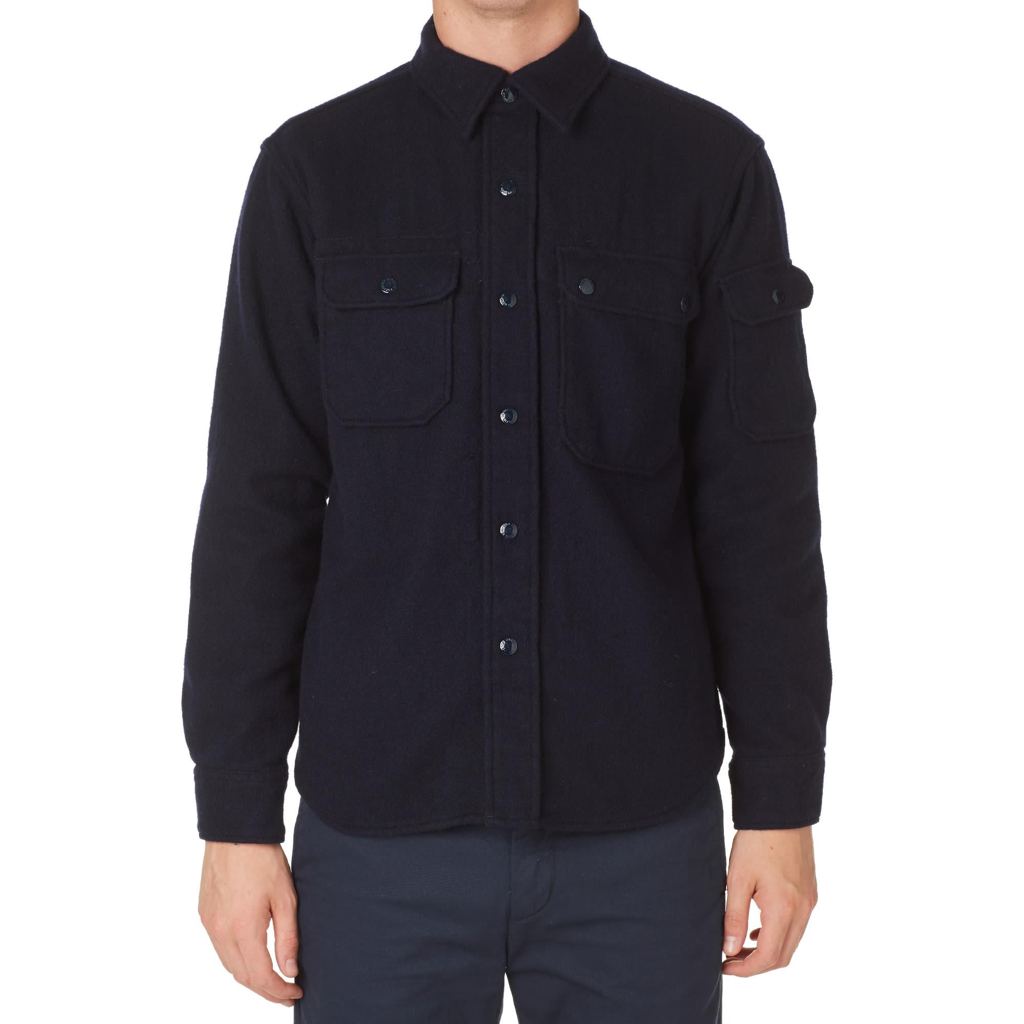 Engineered garments cpo shirt dark navy 16oz wool flannel for 9 oz flannel shirt