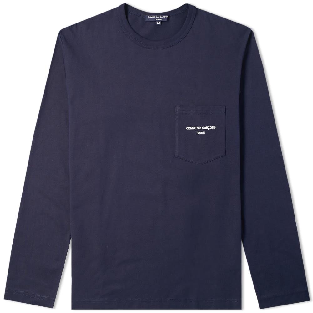 e3fde764590d Comme des Garcons Homme Long Sleeve Logo Tee Navy