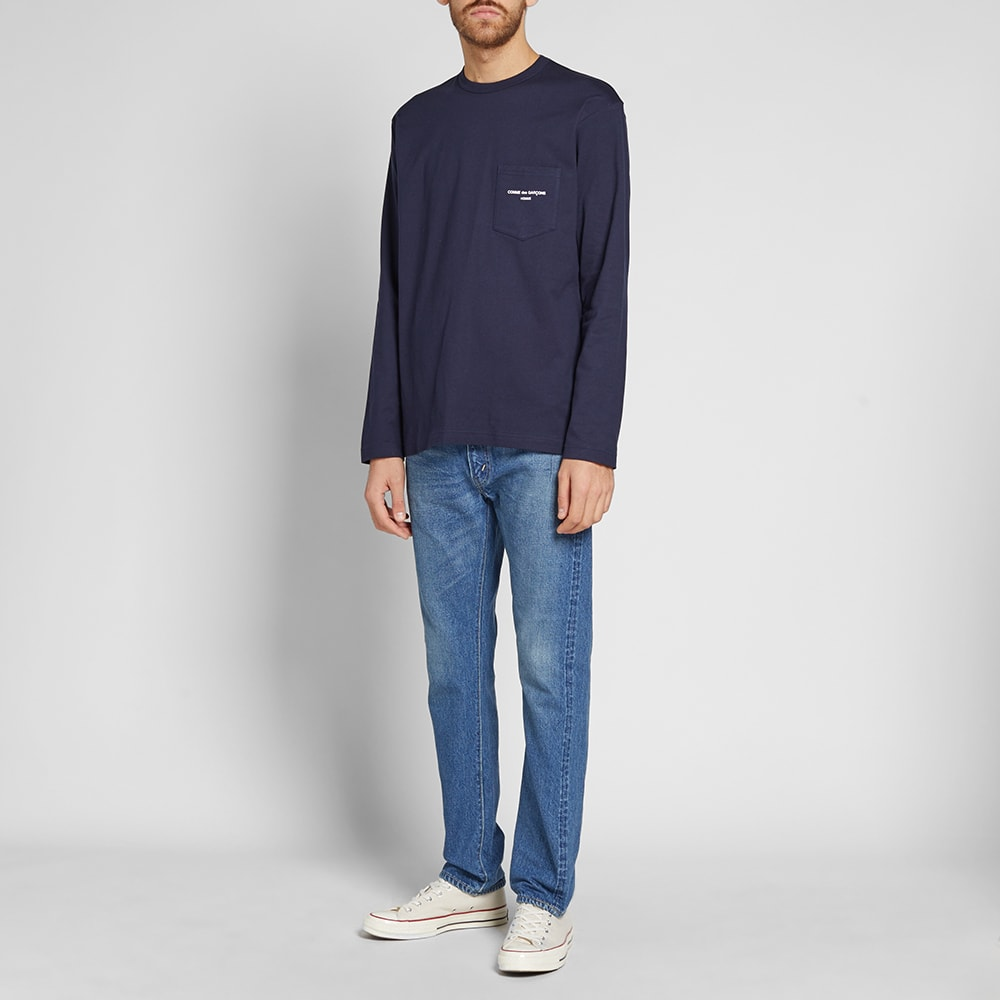 74f998908d4e Comme des Garcons Homme Long Sleeve Logo Tee Navy