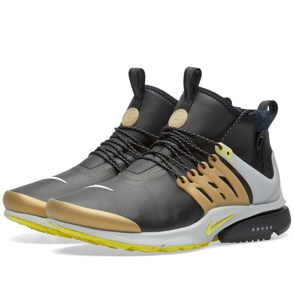 nike air presto mid utility black yellow strike. Black Bedroom Furniture Sets. Home Design Ideas