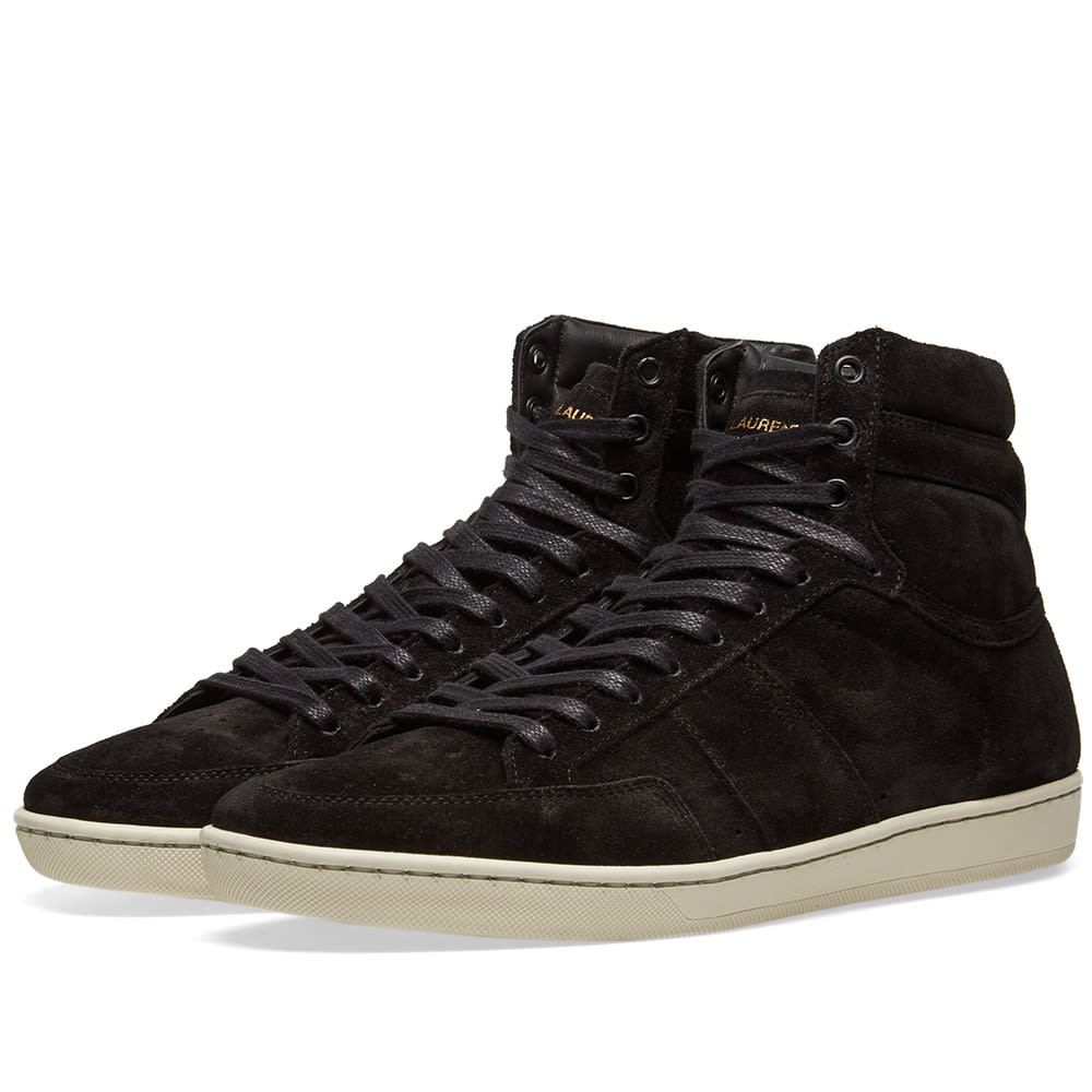 44039a679f3 Saint Laurent Black Suede Court Classic Sl/10H High-Top Sneakers ...