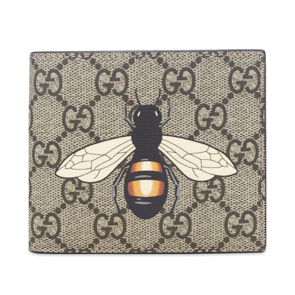Gucci Gg Supreme Bee Billfold Wallet In Brown